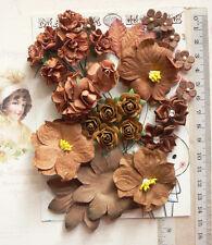 BROWN RUST TAWNY - 32 Flowers & Roses 5 Tones 8 Styles PAPER & SATIN 20-55mm VA1