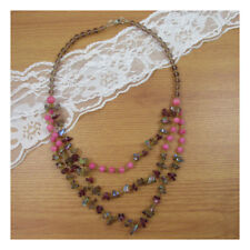 "19"" Necklace Costume Jewellery Pink  Beads Crystal Party  Nice Boho Fashion 145"