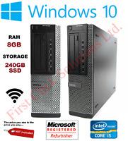 Fast WiFi PC WITH 240GB SSD Dell 790 SFF Core i5 Computer PC 8GB Windows 10