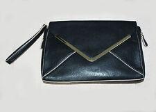 """MONSOON ACCESSORIZE Black Faux Leather Large Envelope Clutch Bag W/12""""  L/8"""""""
