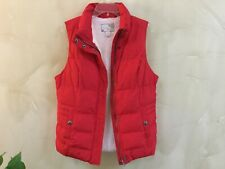 Green Tea Womens Size M Quilted Puffer Vest Red White Zip Snap Close Pockets