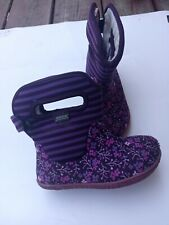 Bogs Rain Waterproof Boots 9 Girls Baby Flower Striped Handles Purple  Toddler