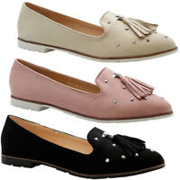 Ladies Womens Flats Slip On Fringe Studded Loafers Ballerinas Pumps Shoes Size