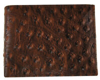 MENS Bifold Ostrich Imprint Wallet, Leather Western Cowboy Card Holder, Brown
