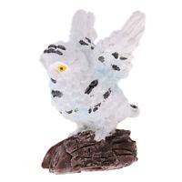 White Miniature Flying Owl Model Statue for Backyard Fairy Garden Accessory
