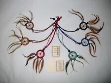 6 MIX COLOUR NATIVE AMERICAN INDIAN STYLE DREAM CATCHER NECKLACES BNIP / n003hb