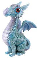 Mythical Blue Baby Dragon Sitting Fantasy Figurine