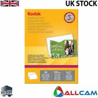 "Pack of 20 Kodak 5x7"" Printable Greeting Cards 170gsm Photopaper w/ envelope"