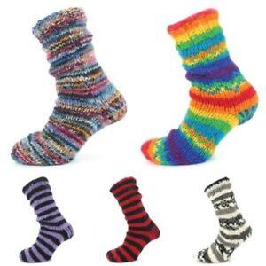 Wool Socks Chunky Knit Fleece Lined RAINBOW Bed Slipper Winter Warm Boot