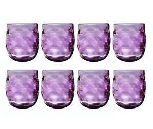 QG Set of 8 Clear Colorful Acrylic Plastic 14 oz. Wine Glass Rock Tumbler Purple