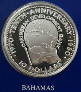 BAHAMAS $10 1980 Silver Proof Caribbean Development Bank