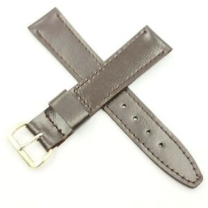 VINTAGE - 16 MM - SWISS MADE - OLD STOCK - BROWN WATCH STRAP - BUCKLE