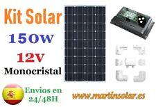 Kit placa panel solar 150w 12v Monocristal + regulador 20ah + soportes.