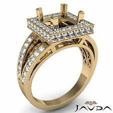 0.65Ct Princess Semi Mount Diamond Engagement Halo Pave Set 14k Yellow Gold Ring