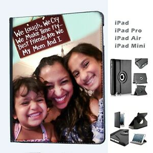 Personalised iPad Your Photo Custom Logo Leather Cover Case  for Apple iPad ❤ ❤