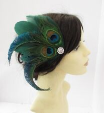 Bottle Dark Green Silver Peacock Feather Fascinator Hair Clip Races 1920s 6161