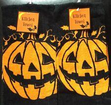 Set Of 2 Orange Pumpkin Halloween Holiday Kitchen Dish Hand Tea Towels Cloths