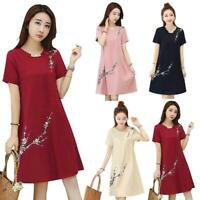 Floral Print Dress Women Lady Short Sleeve Plus Size O-neck Casual Loose Dresses