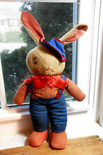 Early Vintage Easter Stuffed Bunny Rabbit Baseball Player- 1940's