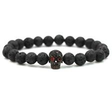 Charm Lava Stone Zircon Black Skull Head Beads Braided Macrame Bracelets Men's