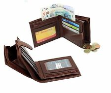 Uomo Vera Pelle Italiana Portafoglio Con Zip Tasca Monete Sacchetto FINESTRA ID 1180 Tan
