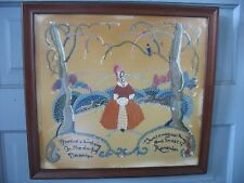 Dated 1951 Crewel Work Embroidered Tapestry Scenery w Saying on velvet w animals