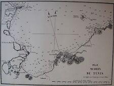PLAN DU GOLFE DE TUNIS ,1862, GAUTTIER, PLANS PORTS RADES MER MEDITERRANEE