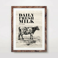 VINTAGE FARM SHOP DAIRY MILK ADVERTISING ART PRINT Agricultural Poster Wall