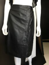 Reiss Leather Wrap  skirt Black Size 8