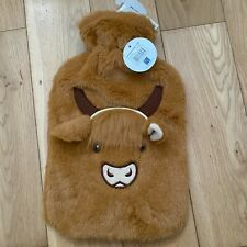 Mini 500ML Natural Rubber Hot Water Bottle With Cozy Faux Fur Highland Cow Cover