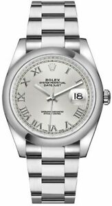NEW Rolex Datejust 36 Automatic Silver Roman Numeral Dial Watch 116200-SLVRO