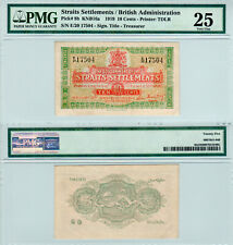 Straits Settlements 10 Cents P#8b (1919) PMG 25