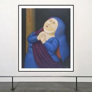 "Fernando Botero - ""Madre afligida"" 2010 HD Print on Art Fabric Wall Decor"