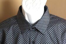 Men's NWT navy blue w/ white dots Express Modern slim fit dress casual shirt L