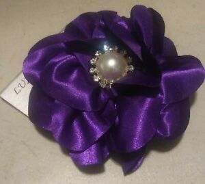 Purple Satin Flower Hair Clip With Alligator and Pin Back - Lapel, Brooch