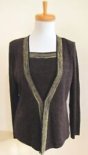 Exclusively Misook Cardigan Jacket XS Faux Twinset Sweater 2 in 1 Shell Brown