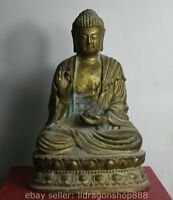 17cm, vieux, tibétain, bronze, bouddhisme, temple, base, bouddha, statue