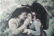 cpa soleil couple baiser amour femme postcard lovers kiss woman cartolina donna