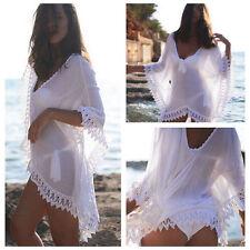 2018 Sexy Women Bathing Suit Lace Crochet Bikini Swimwear Cover Up Beach Dress V