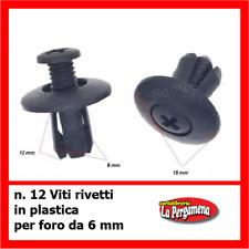 Viti Rivetti plastica x carene e auto 6 mm fissaggio sicuro 12 pz clip