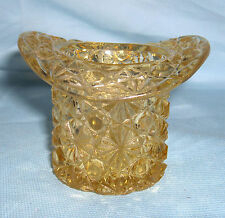 "Vintage Toothpick Holder in Yellow/Gold Daisy & Button Top Hat Design 2.5"" Tall"