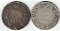 2 X NEWFOUNDLAND FIFTY CENTS QUEEN VICTORIA 925 SILVER COINS 1896 1896 HOLED