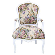 CHAIRS FRANCE BAROQUE STYLE LADY CHAIR WITH ARMRESTS WHITE / FLORAL #55F3