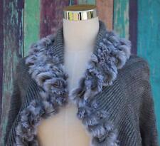 Boston Proper Shawl Shrug Cardigan Sweater Size M Gray, Faux Fur Trimmed LN
