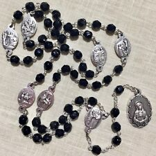 SEVEN SORROWS CHAPLET rosary black crystals  made in Poland of Italian parts 18""