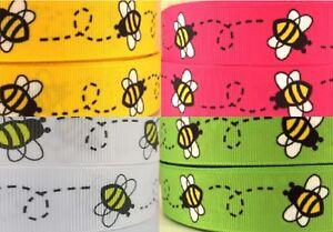 "1m Bees Ribbon 7/8"" Grosgrain Bee Ribbon Choice of Colour - Summer Bows"