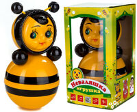 """NEVALYASHKA Roly Poly Musical Toy BEE 9""""/23cm Ages1+ USSR Vintage Doll US Seller"""