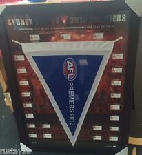 SYDNEY SWANS PREMIERS LIMITED EDITION TEAM SIGNED FRAMED OFFICIAL FLAG GOODES