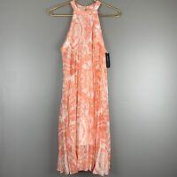 BCBGeneration Womens Size Medium M Coral Print Pleated High Neck Dress NWT