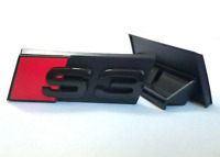 Audi S3 Front Hood Bonnet Grille Emblem Badge Decal Gloss Black Red for A3 S3